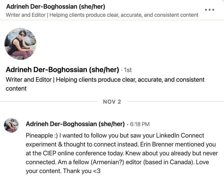 LinkedIn invitation from Adrineh Der-Boghossian