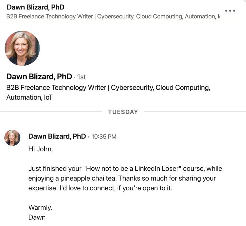 LinkedIn invitation from Dawn Blizard