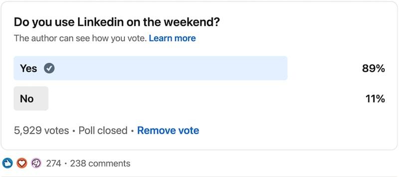 Joel Lalgee's poll on weekend posting on LinkedIn