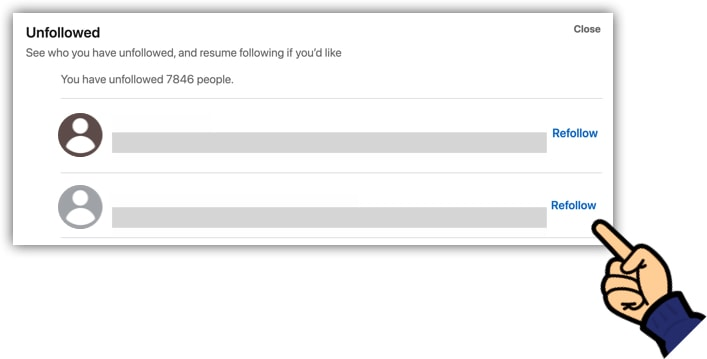 Refollow people on LinkedIn