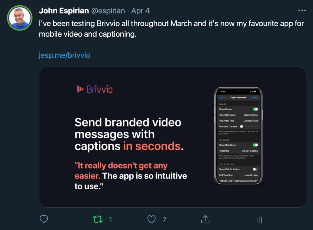 Brivvio tweet