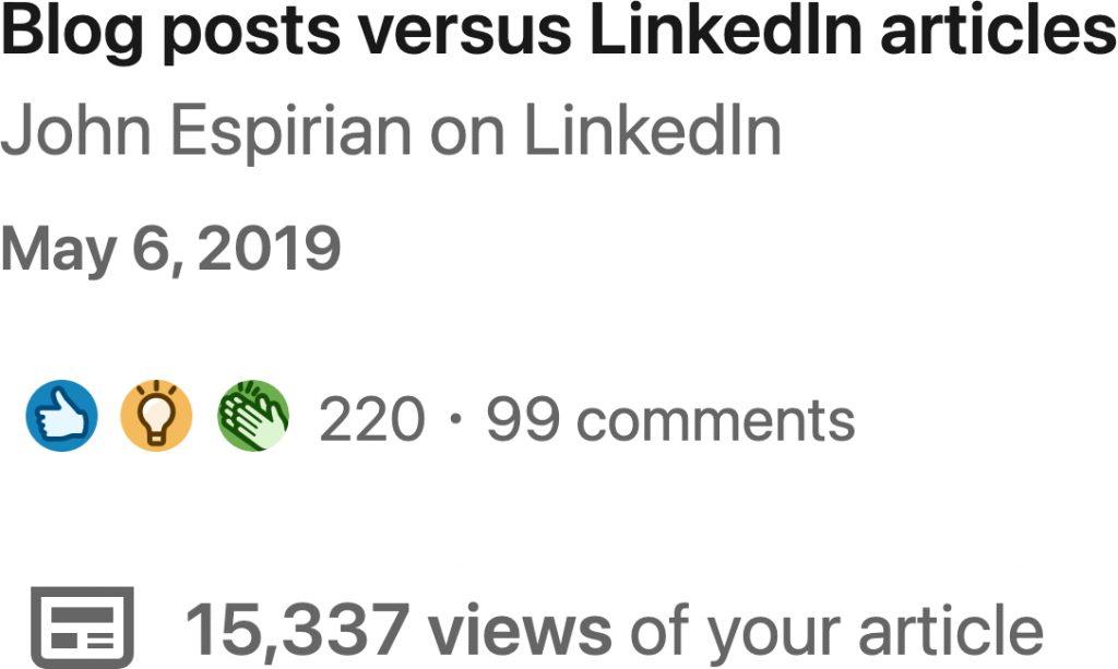 Blogs versus articles