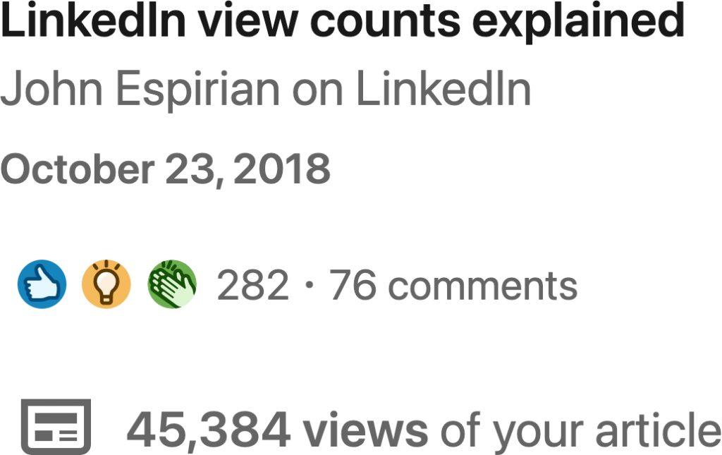 LinkedIn view counts