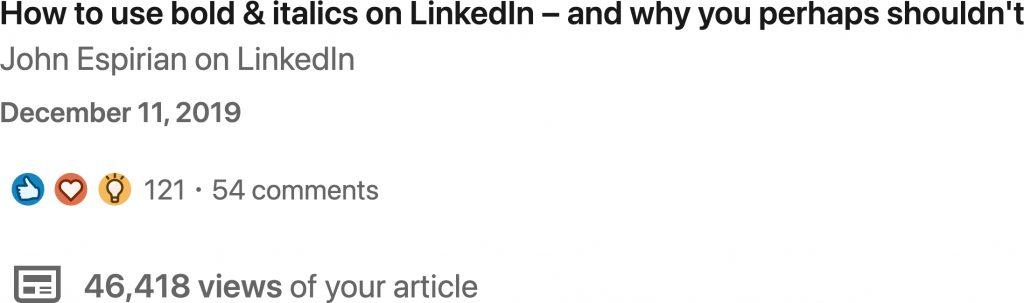 Using bold and italics on LinkedIn