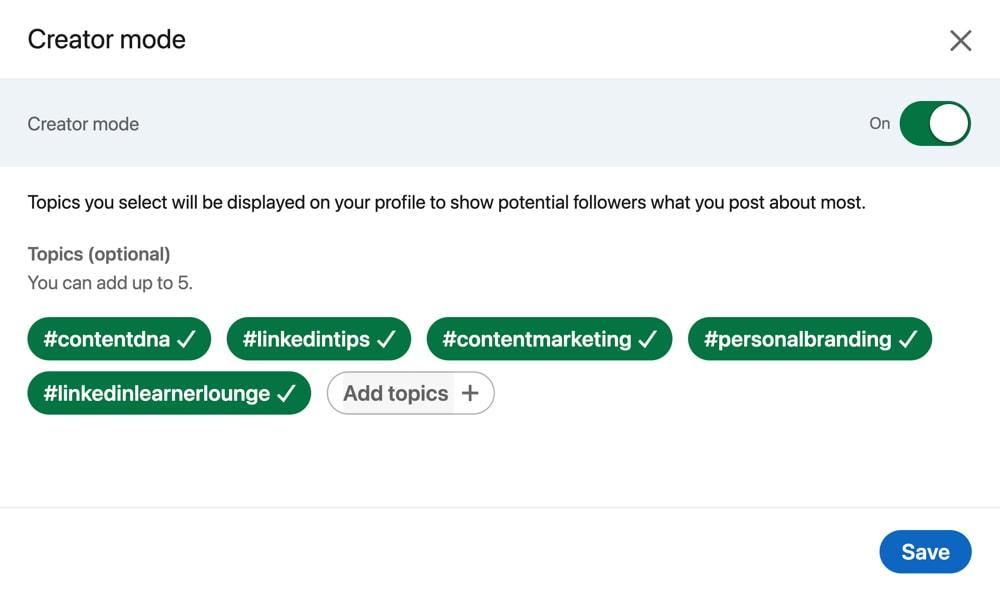 LinkedIn creator mode hashtags/topics