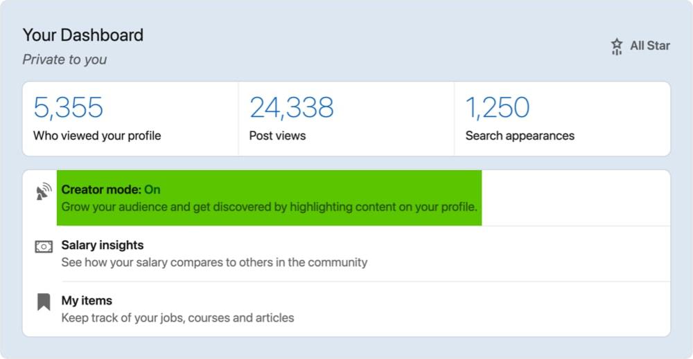 LinkedIn creator mode dashboard