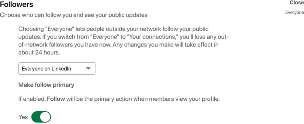LinkedIn Follow first
