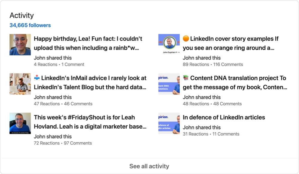 LinkedIn Activity panel in creator mode