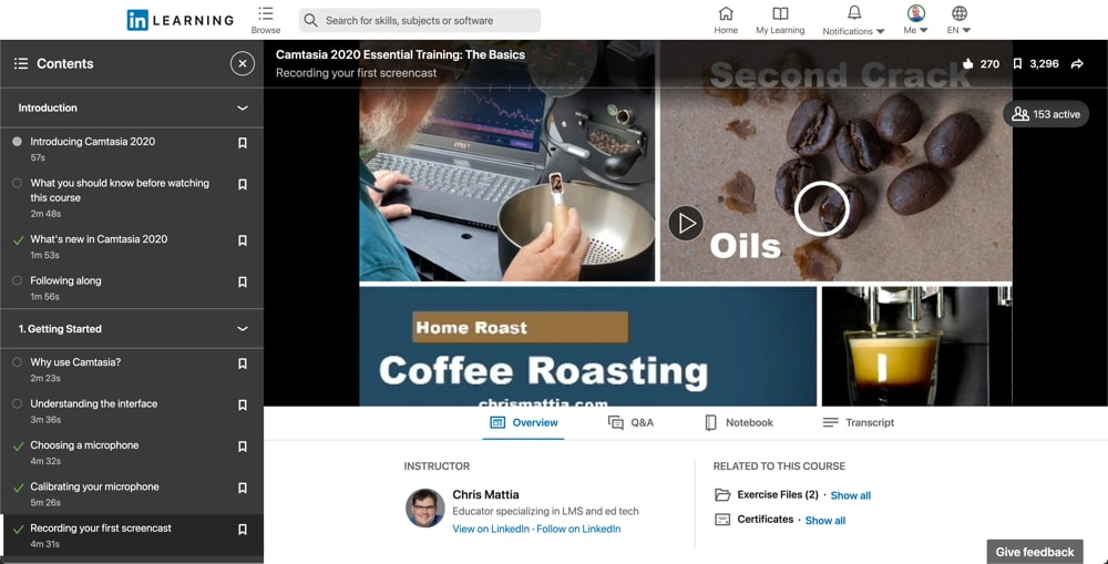 LinkedIn Learning course on Camtasia