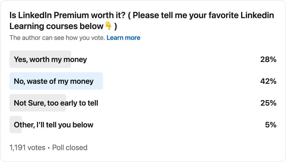 LinkedIn Premium poll by Michelle Griffin
