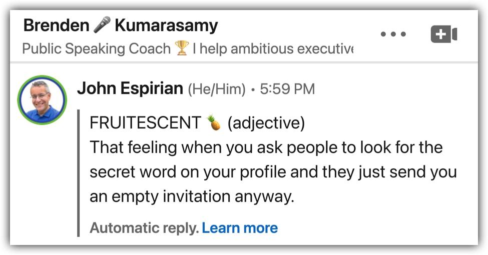 LinkedIn away message