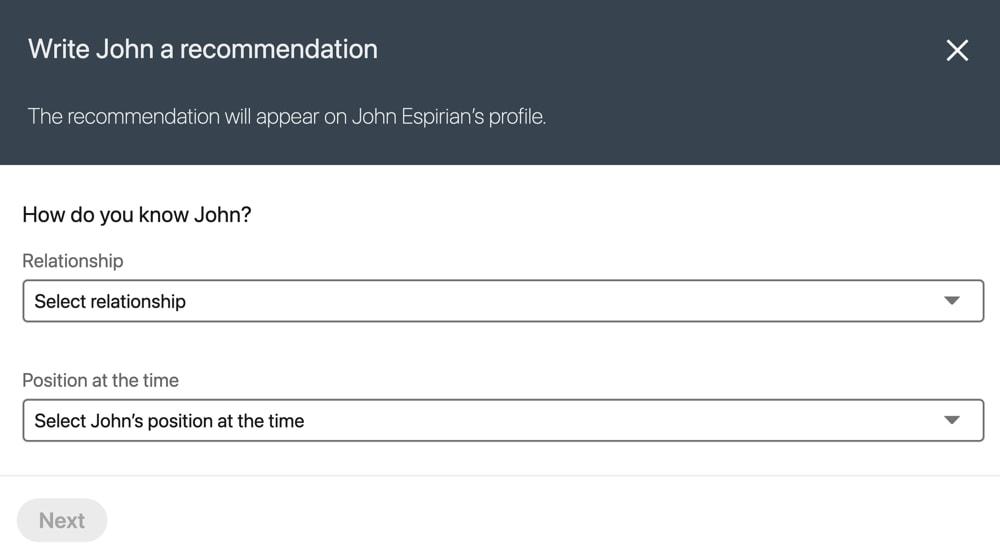 LinkedIn recommendation magic URL