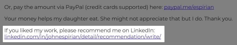 LinkedIn recommendation on invoice