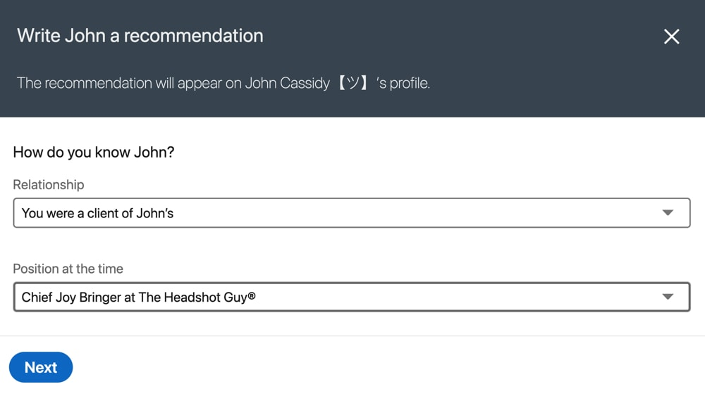 Send recommendation
